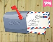 MAILBOX Invitation : Print at Home Post Office and Mail Themed Invite | Mister Mailman | Postal | Post | Air Mail | Digtal File