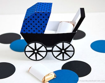 Modern Baby Carriage Favor Box - Blue & Black : DIY Printable Baby Buggy Gift Box | Pram | Baby Boy | Baby Shower Favor - Instant Download