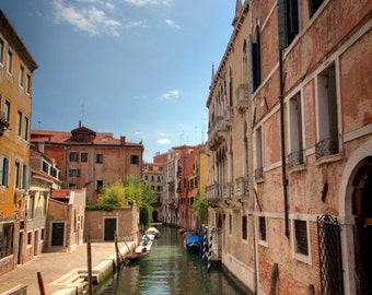 canal in venice, travel photo, italy photography, romantic, weathered, pastel colors, living room decor