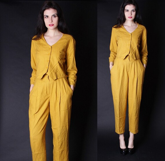 1990s High Waist Harm Pants - 90s Pants - Vintage Mustard - Pant Suit - Vintage Silk Pants 2680