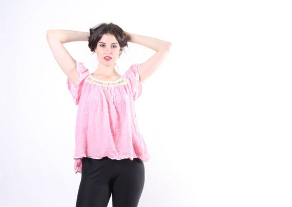 70s Pastel Pink Mexican Boho Top - Boho Tops - Pastel Pink Mexican Tops - The Pretty Baby Blouse - 6002