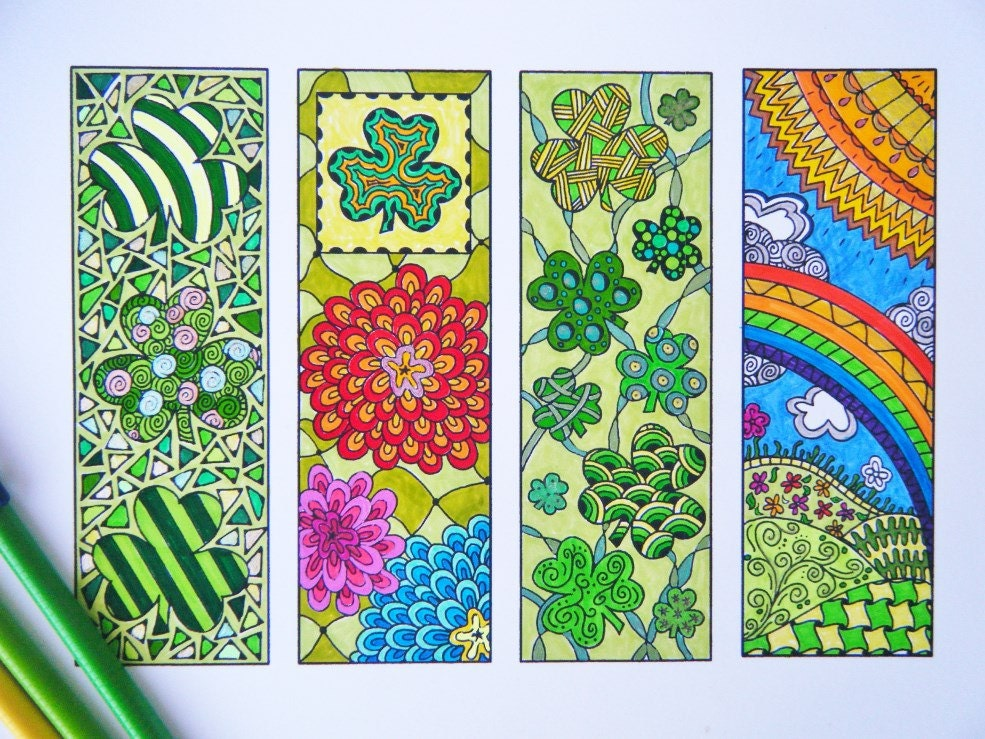Zentangle Bookmark Flowers to Print and Color Adult Coloring