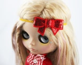 SALE! Holiday Sparkly Red and Gold Bow Headband for Blythe Dolls - Christmas outfit Holiday accessory - doll accessory - Holiday photo prop