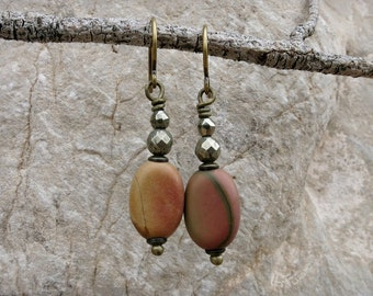 Rustic Jasper Dangle Earrings, asymmetrical Bohemian Picasso jasper stone bead earrings in yellow, pink & olive green