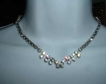 Vintage Art Deco Necklace 1930 Rhinestone Drop Necklace Original Anitque Hand Set Rhinestones Classic