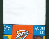 OKC Thunder Hand Towel, Oklahoma City kitchen dish handmade white basketball,  16 x 26