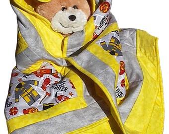Firefighter Flannel Baby Quilt, handmade fireman toddler infant blanket nursery crib
