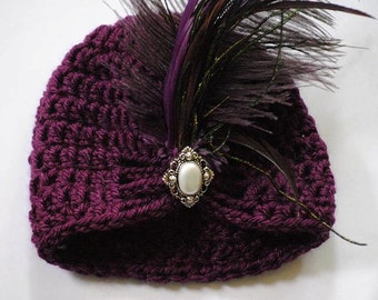 Newborn Flapper Hat/ Purple Flapper Hat/ Crochet Flapper Hat/ Purple Newborn  Hat