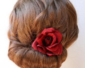 Red rose hair flower clip, real silk, romantic bridal hair accessories, handmade silk clip, ivory or deep red - 'Laurette'