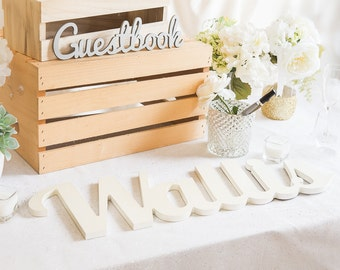 Wedding Guest Book Name Sign Guest Book Sign In Book for Wedding or Gift - Wooden Name Sign Painted Guest Book or DIY (Item - GNA100)