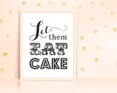 Let Them Eat Cake Sign Print Poster Printable Wedding Decor INSTANT DOWNLOAD 8x10
