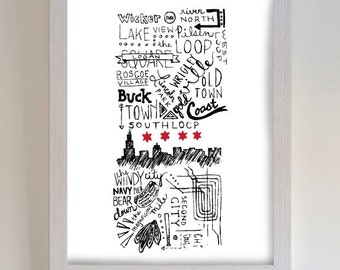 Chicago Traits 8 x10 or 5 x 7 inch wall art; city traits, neighborhoods, food, el tracks, Chicago Blackhawks, White Sox, Cubs, Chi town