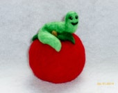 apple needle felted with green worm, 3 inches
