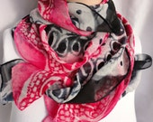 silk scarf extra long chiffon Red Black White Squiggles painted unique abstract