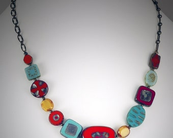 Red, Turquoise and Yellow Czech Glass Bead Necklace