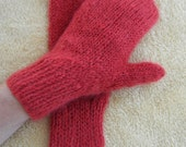 Brick RED Hand Knit MITTENS in Italian KID Mohair Soft Warm