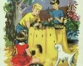 CHILDREN building a SANDCASTLE, Nursery print for child's bedroom
