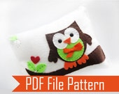 Valentines Day Sewing Pattern Owl pillow, PDF pattern,  Felt PILLOW craft Project  A874 - Mariapalito