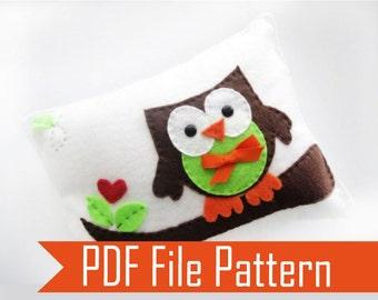 Owl Pillow Pattern, PDF pattern,  Felt Pillow, felt owl pattern,  craft Project, pile sewing pattern,  DIY Sewing Pattern,   A874