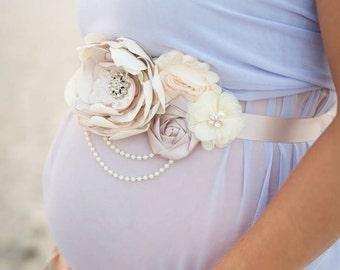 Maternity Sash, Baby Girl Sash, Baby Boy Sash, Wedding Sash, Bridal Sash, Surprise Gender Maternity Sash, Gender Reveal, Ivory Taupe Cream