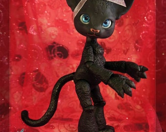 Scratch the Cat with face up- Limited edition Midnight Black Resin - ball joint doll / BJD