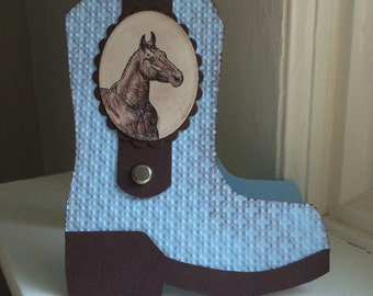 Cowboy Boot Card in Blue