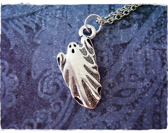 Silver Ghost Necklace - Silver Pewter Ghost Charm on a Delicate Silver Plated Cable Chain or Charm Only