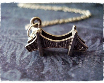 Silver Bridge Necklace - Antique Pewter Bridge Charm on a Delicate 18 Inch Silver Plated Cable Chain