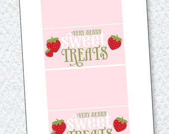 Strawberry Party PRINTABLES Fold Over Labels from Love The Day