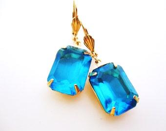 Teal Crystal Earrings in Gold - Blue Rhinestone Jewels - Estate Style - Summer