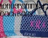 Monogrammed Quatrefoil Beach Bag, Large Tote, Pool, Everyday Bag