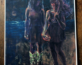 Girls Holding Hands Artwork