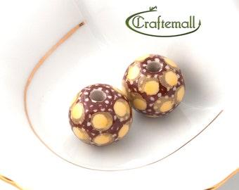 40% OFF SALE: Handmade ceramic beads - set of two beads - Polish Pottery beads - decoration nr.15