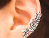 Long Garden Rose ear cuff Sterling Silver earrings Rose jewelry Rose earrings Sterling silver ear cuff Small clip non pierced earcuff C-104