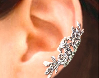 Long Garden Rose ear cuff Sterling Silver earrings Rose jewelry Rose earrings Sterling silver ear cuff Small clip non pierced earcuff C-104