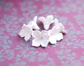 Lilac beads, white flower beads, polymer clay beads wedding jewelry, floral beads - 6 pcs