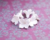 Lilac beads, white flower beads, polymer clay beads wedding jewelry - 6 pcs