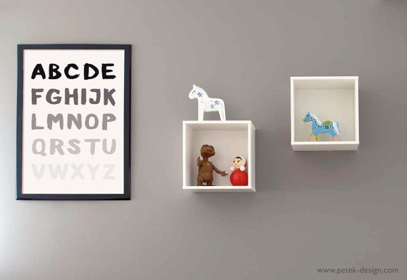 abc poster modern nursey kids room poster in black and