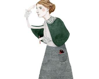 Virginia Woolf Portrait Art print Giclee drawing illustration 8x11