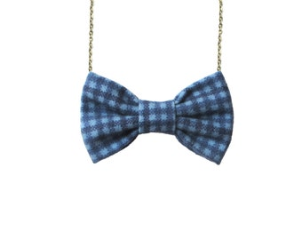 Navy Blue Gingham - Flannel Bow Tie Necklace, Women Bowtie Blue Checkers