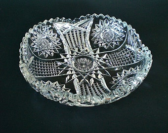 Brilliant Cut Glass Bowl Candy Dish Glass Relish Dish Crystal Bowl
