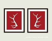 Elk Antlers Art Print - Modern Deer Antlers Wall Art - Set of 2 - Antlers Wall Art - Rustic Woodland Home Decor - Red and White - Aldari Art