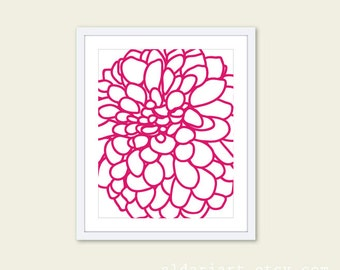 Modern Dahlia Flower No. 1 Art Print - Fuchsia Magenta Pink and White - Modern  Flower Wall Art  -r - Spring Summer Decor - Under 20