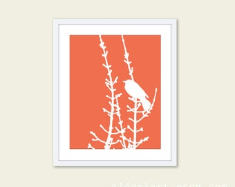 Spring Bird on Tree Print Bird Print Bird Wall Art Coral and White Bird Wall Art Modern Decor Modern Bird Art Bird on Twig Print Aldari Art