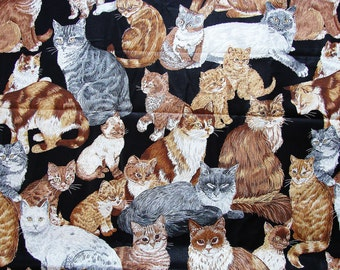 Cat Fabric Sewing Cats and Kittens Large Print Cotton Fabric by the yard