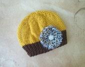 Knit Newborn Hat Cheetah Print flower Photo Prop Photography OOAK