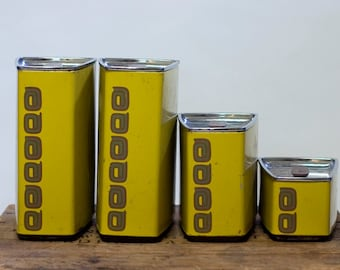 Vintage Kitchen Canister Set 1960's Yellow Lidded Tins