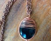 Blackstone and Copper Herringbone Wrap Pendant (with chain)
