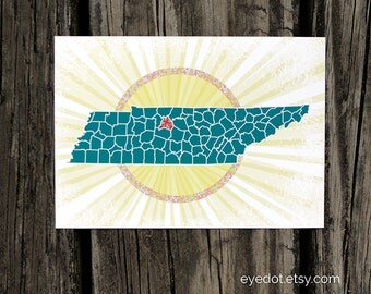 Tennessee Pride 5x7 print - choose which county to highlight or leave state solid - Volunteer State