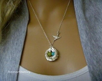Wire wrapped bird nest necklace with birthstone eggs - mother of the bride - mommy necklace